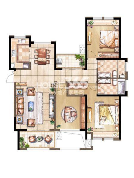 尚景湾10#标准层F户型3室2厅2卫1厨 143.00㎡