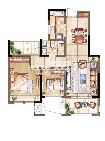 尚景湾10#标准层E户型2室2厅1卫1厨 93.00㎡