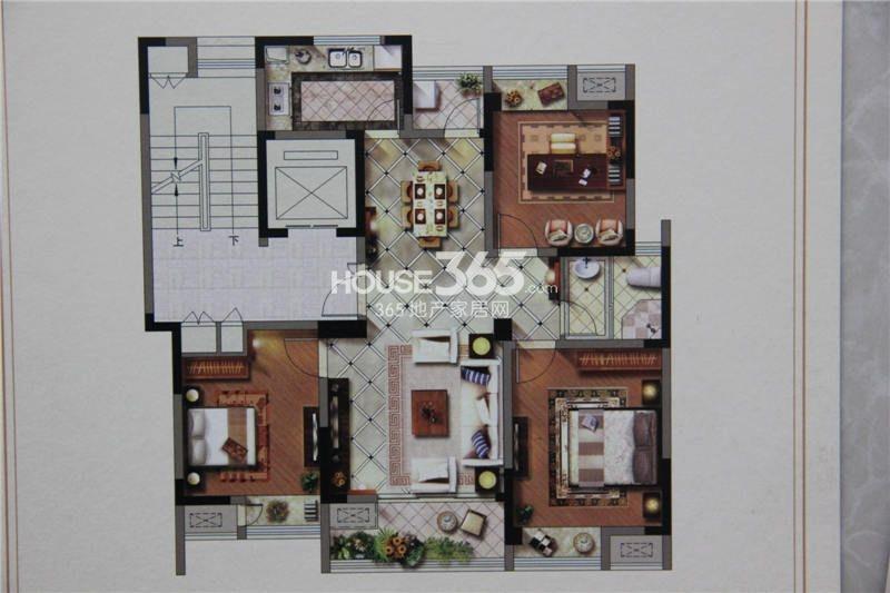 户型图 105平米三室两厅户型 105