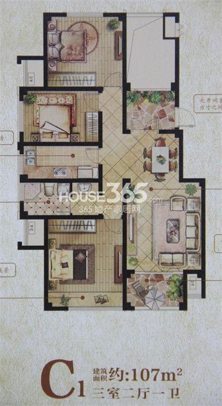 户型图 c2 108平米三室两厅户型 108_扬州香颂溪岸_网