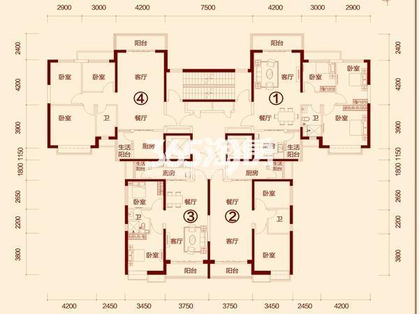 恒大绿洲(武威)3-1号楼标准层(2-33层)户型图