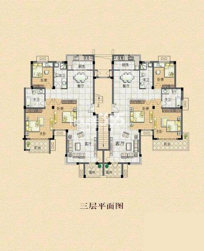户型图 莱茵东郡D6户型6室4厅4卫2厨124.00