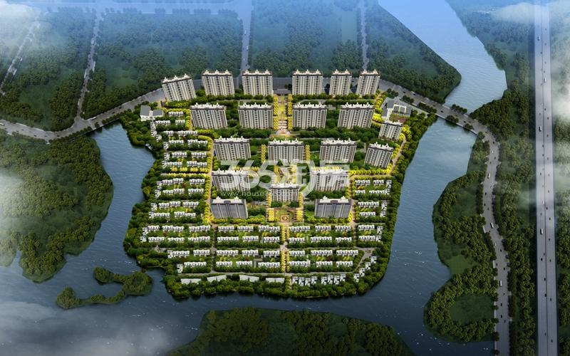 霞客岛生态城鸟瞰图