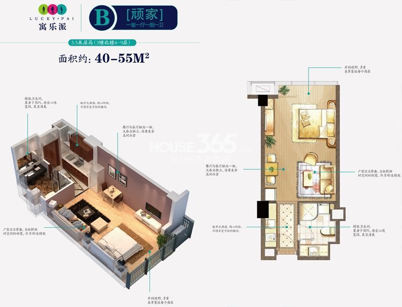 寓乐派B户型 顽家 一室一厅一厨一卫 3.5m层高 约40-55㎡