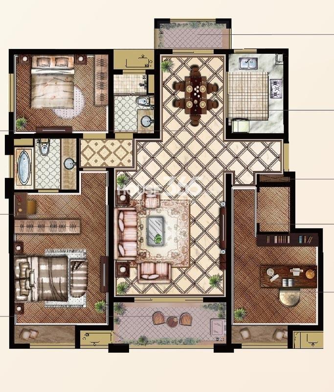 山湖一号小高层140平 E户型3室2厅2卫1厨