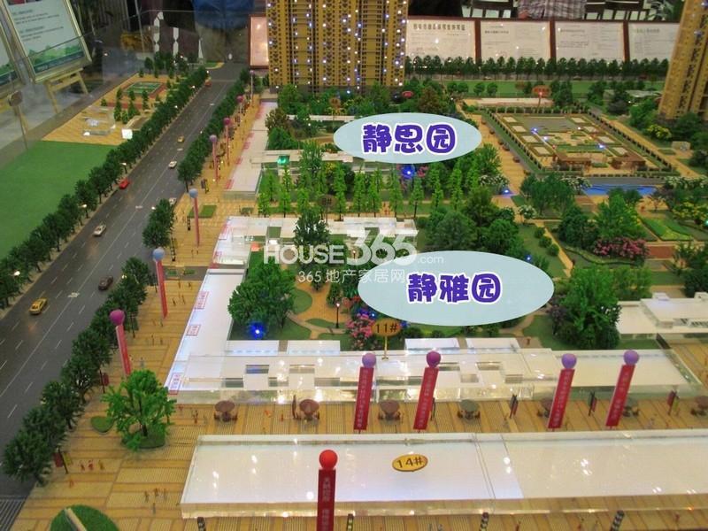 天朗蔚蓝东庭小区绿化静思园静雅园沙盘实景图(20131211)