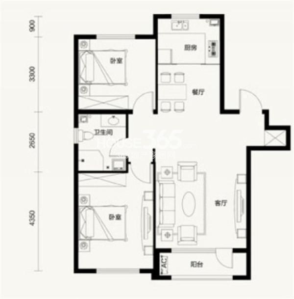 汇邦克莱枫丹A4户型2室2厅1卫 97.00㎡