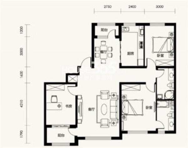 汇邦克莱枫丹D户型3室2厅2卫 138.00㎡
