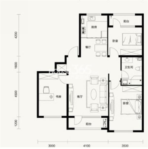 汇邦克莱枫丹B2户型3室2厅1卫 117.00㎡