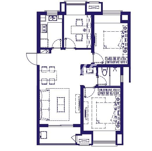 万科金域蓝湾S1户型三室两厅一卫90平