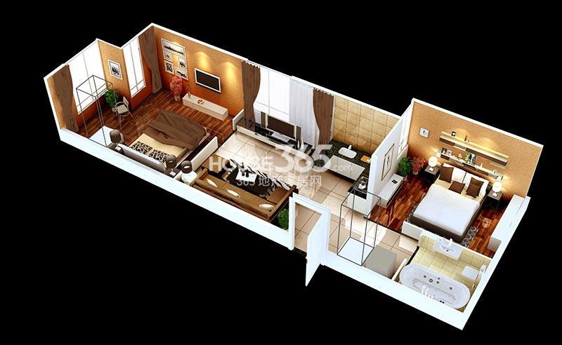 中贸广场15#楼7/8号房户型两室一厅一卫61.71㎡