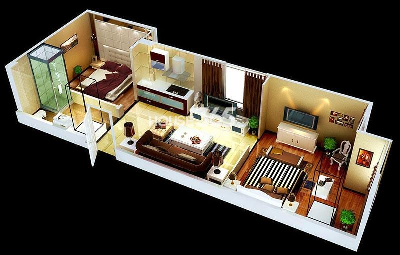 中贸广场15#楼1/23号房户型图两室一厅一卫58.31㎡