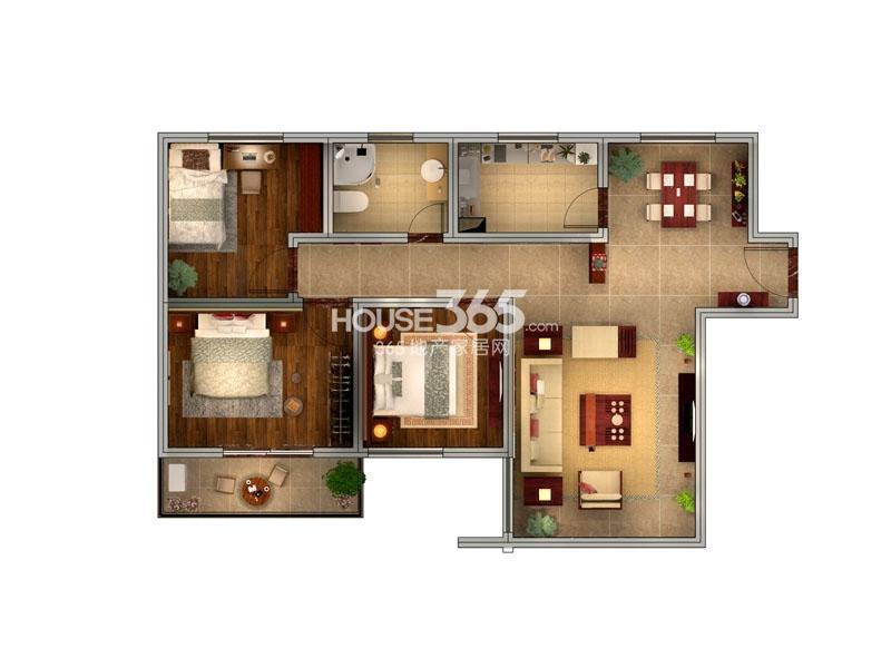 子午美居A户型平面3室2厅1卫1厨 104.79㎡