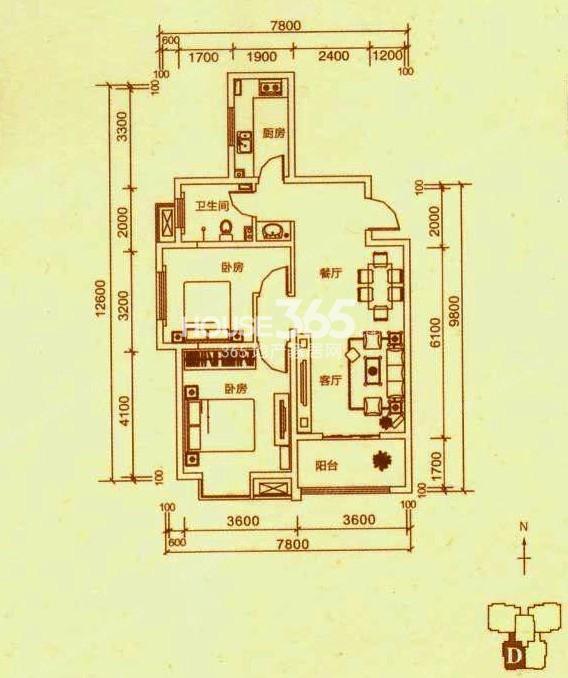 山水悦庭6/7号楼D户型2室2厅1卫 95.38㎡