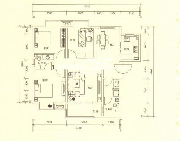 山水悦庭6/7#楼H户型3室2厅2卫1厨 117.91㎡