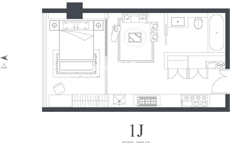 长江会1J户型56平方米