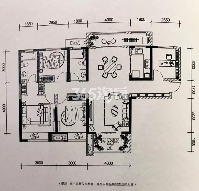 金地南湖艺境136-137㎡户型图