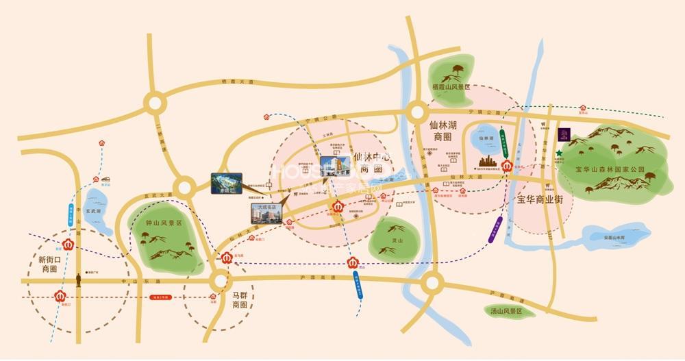 碧桂园仙林云墅交通图
