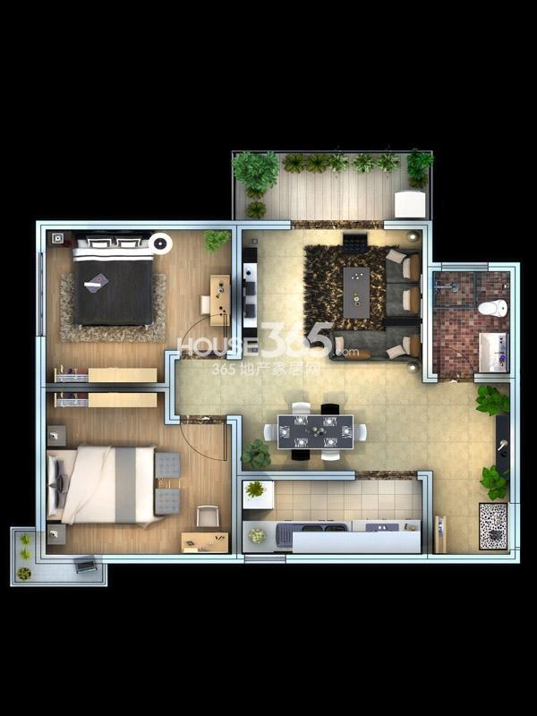 子午美居3号楼A.B户型2室2厅1卫1厨 89.91㎡
