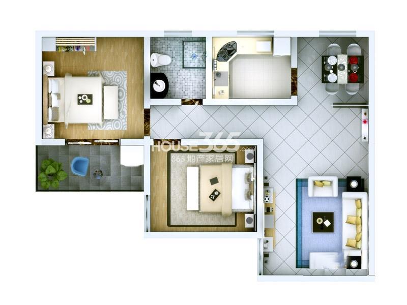 子午美居2号楼A户型2室2厅1卫1厨 87.85㎡