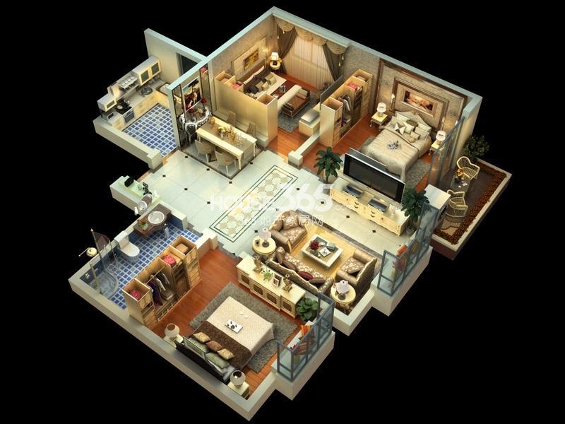 子午美居3号楼E户型3室2厅2卫1厨 107.99㎡