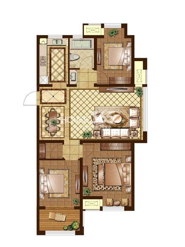 F1户型 三房二厅一卫 113平