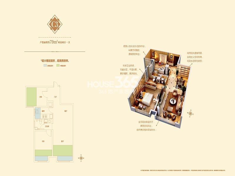 林凯城C3户型两室两厅一卫79平米