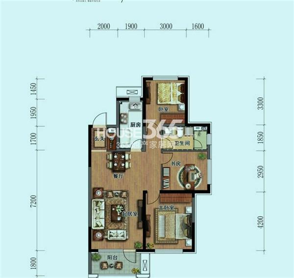 华润中央公园 户型图 A1 三室二厅一卫 112㎡
