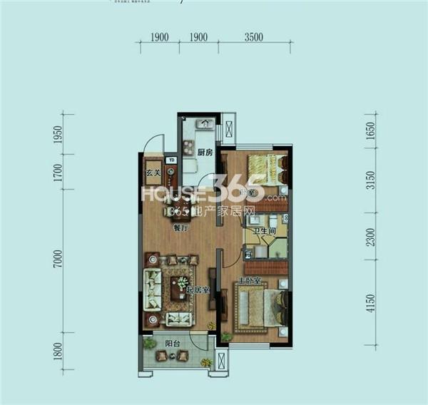 华润中央公园 户型图 A2 二室二厅一卫 96㎡