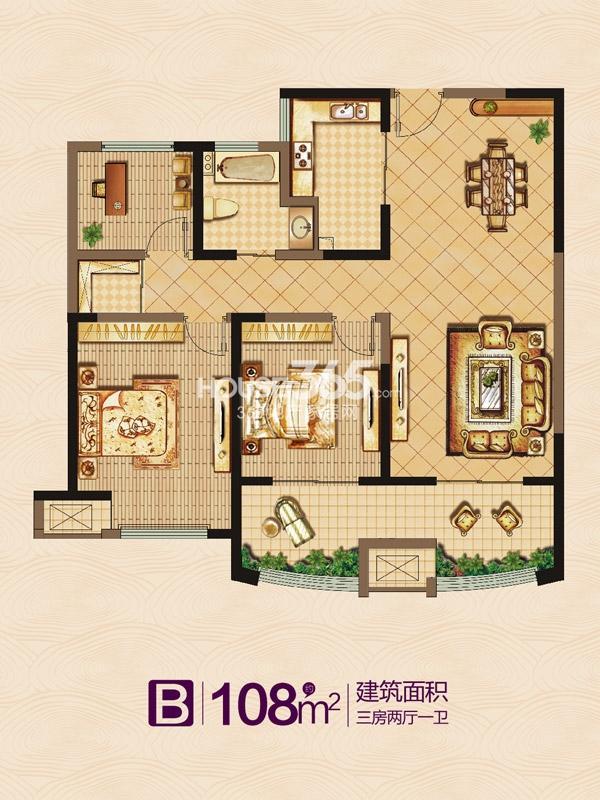 万泰国际广场·檀香湾B户型-三室两厅一卫-108平