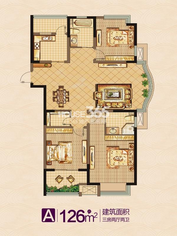 万泰国际广场·檀香湾A户型-三室两厅两卫-126平