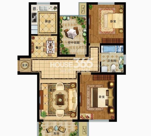 津西新天地一期标准层C户型3室2厅1卫1厨 105.00㎡