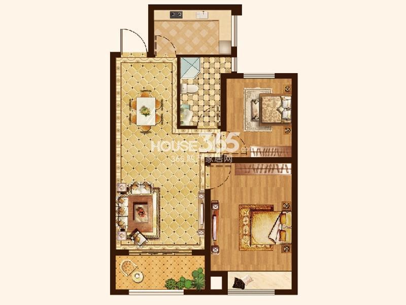 恒通蓝湾国际G11户型2室2厅1卫1厨 74.00㎡