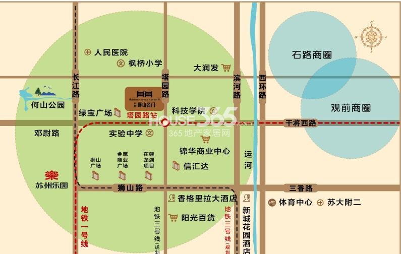 中旅狮山名门交通图