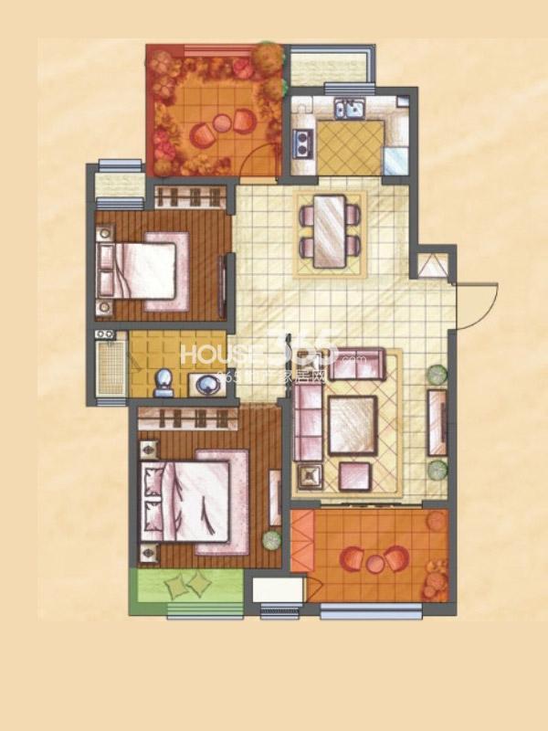 新城香溢紫郡三期Q户型2室2厅1卫1厨-109平
