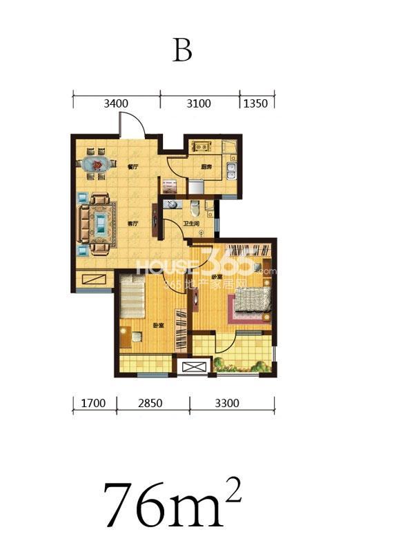 荣盛昆山豪庭B户型2室2厅1卫76㎡
