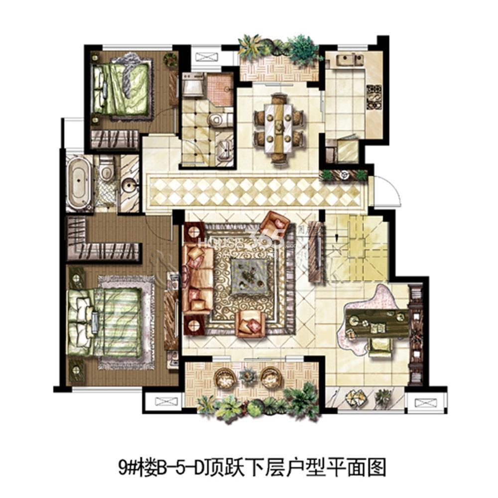 中山首府9#楼顶跃复式下层——178.73㎡(5.8)