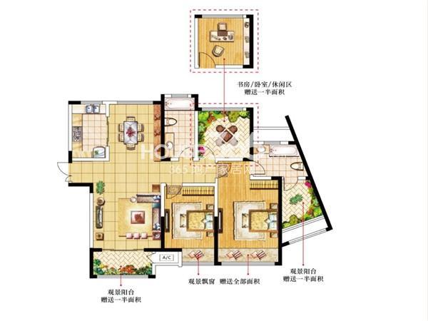 9#I户型-3房2厅2卫-130.40㎡
