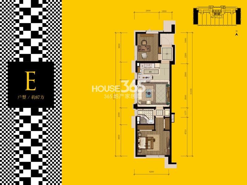 武林外滩酒店式公寓E户型 约87㎡ 1室2厅1卫