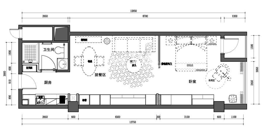 夫子庙金街A户型-平面图(约69.91平米)