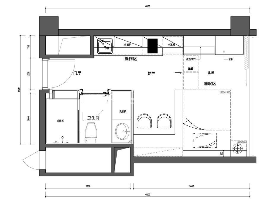 夫子庙金街C户型-平面图(约32.25平米)