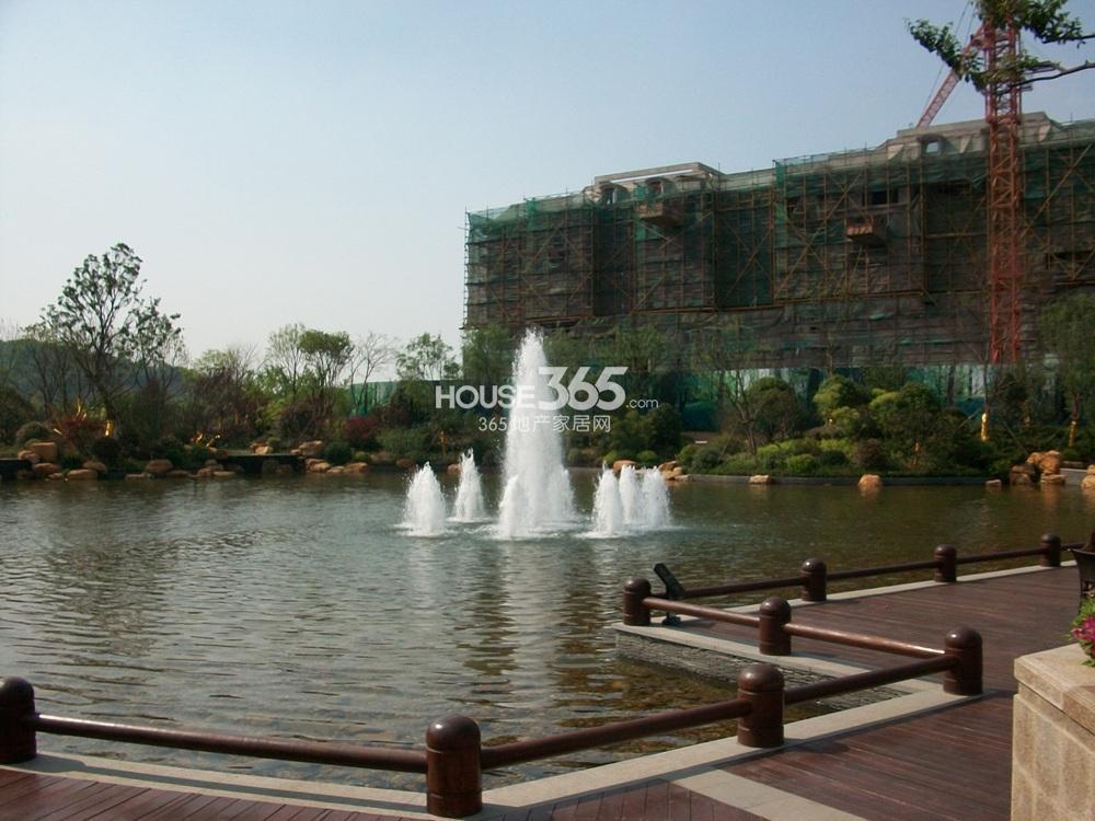 银亿东城售楼处北面的景观湖实景图(5.1)