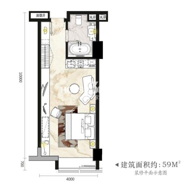柏庄时代广场云公寓居住型效果图