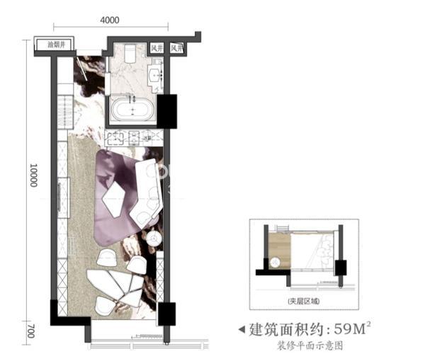 柏庄时代广场云公寓居住加办公户型设计图