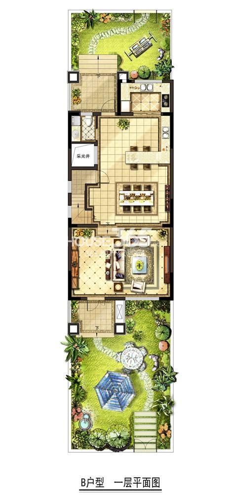 金地自在墅 B户型一层平面图