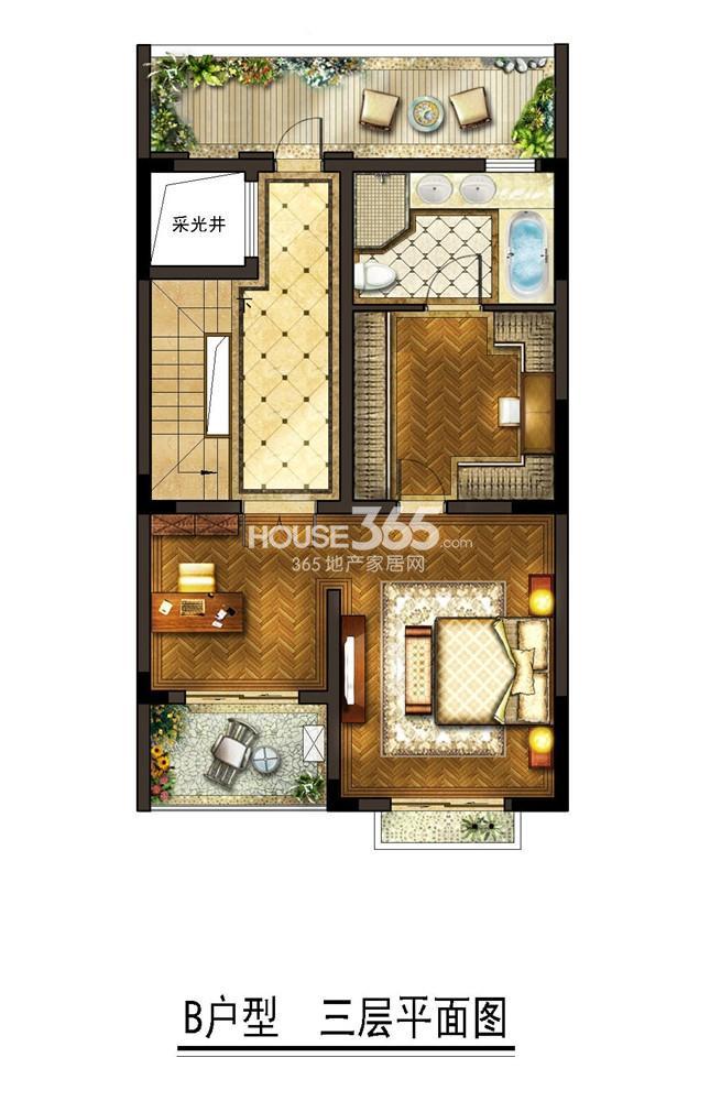 金地自在墅 B户型三层平面图