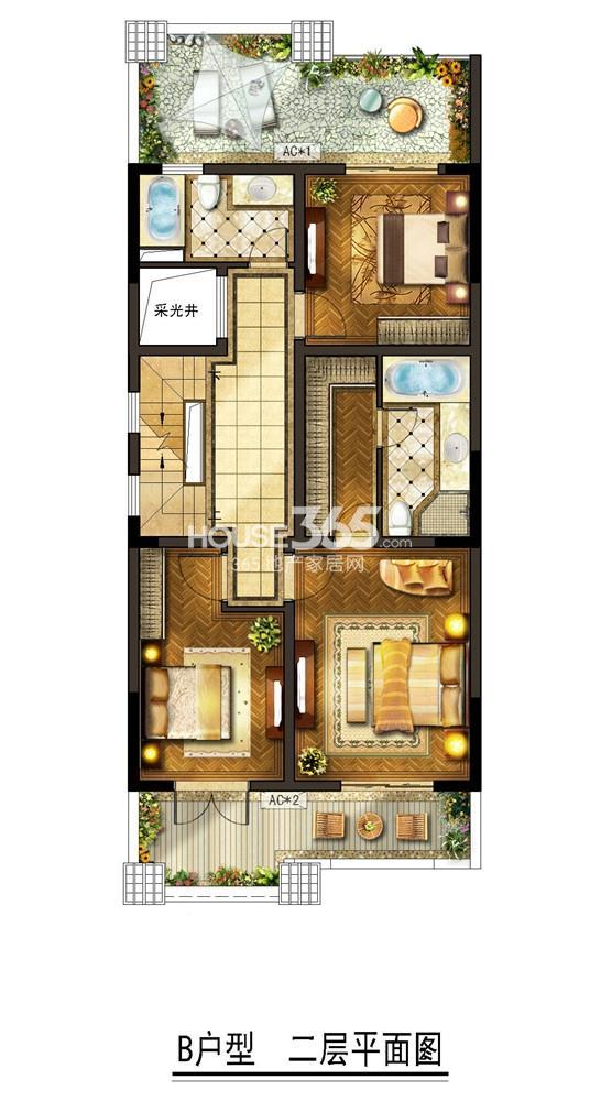 金地自在墅 B户型二层平面图