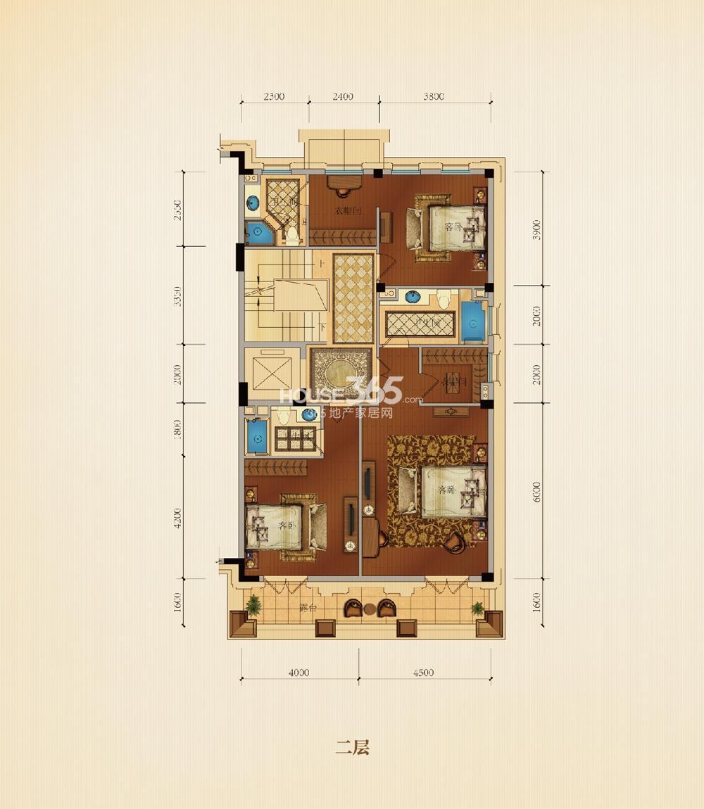 滨江西溪明珠排屋25、26#P1户型边套360方二层