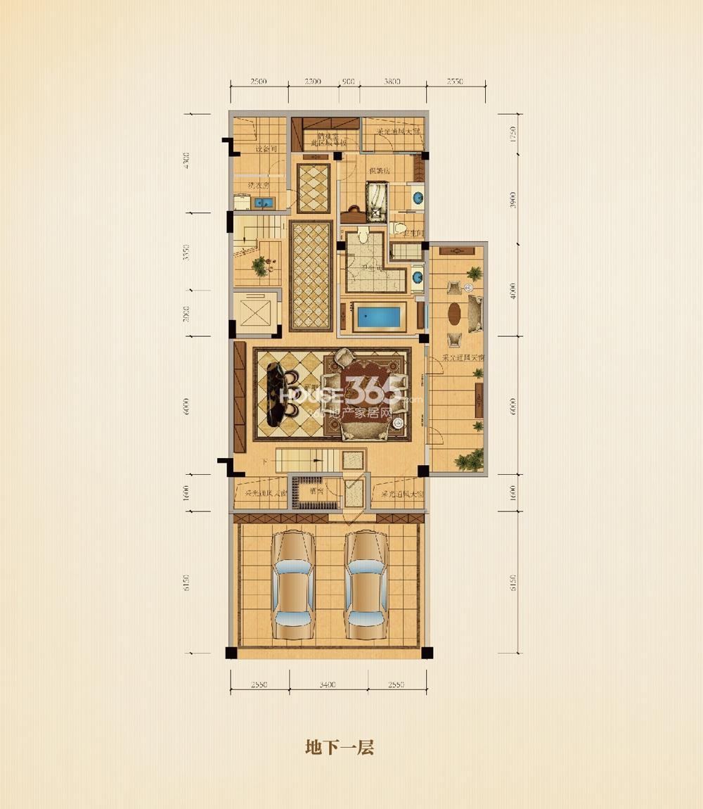 滨江西溪明珠排屋25、26#P1户型边套360方地下一层