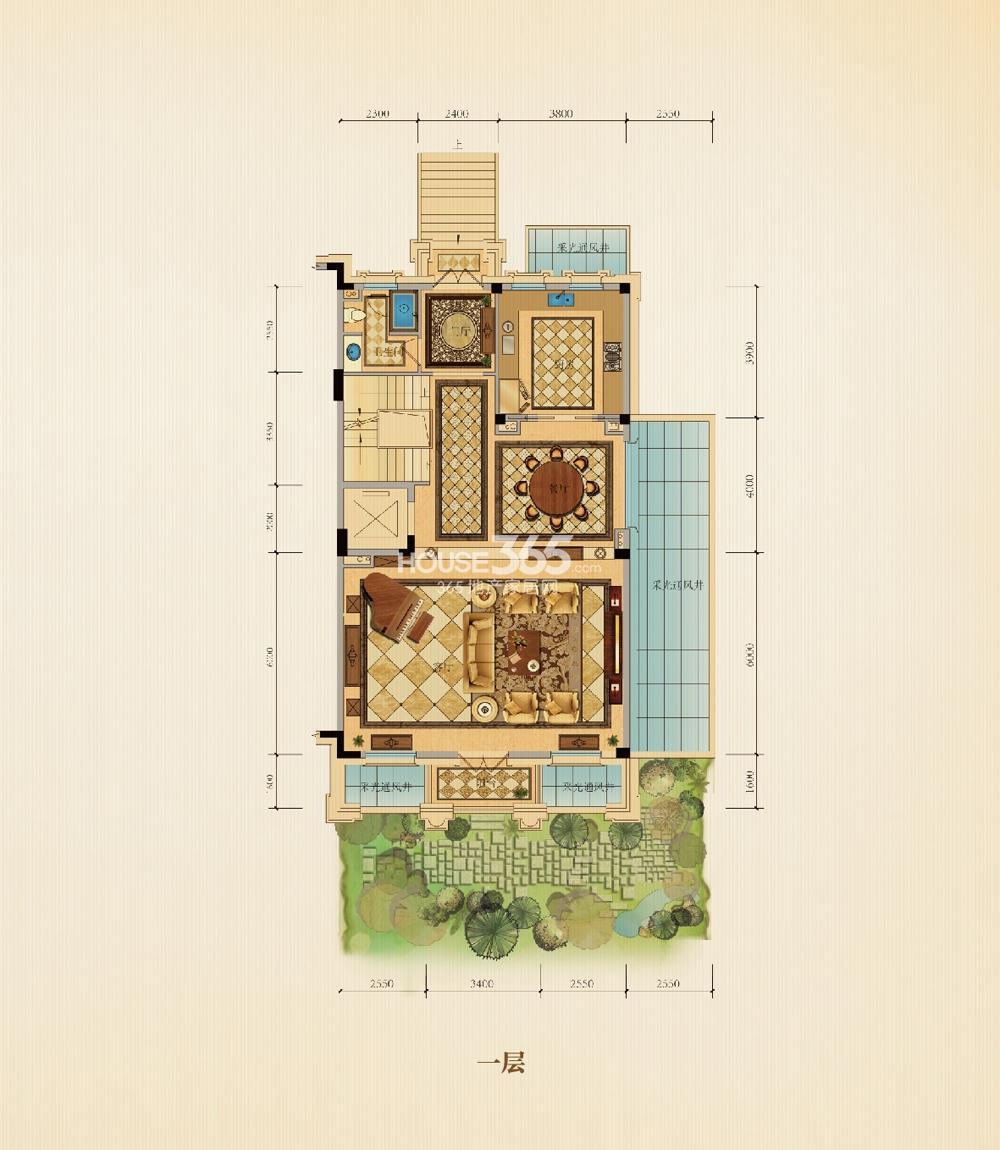 滨江西溪明珠排屋25、26#P1户型边套360方一层